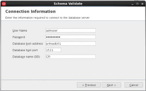 Oracle Primavera validate DB Schema Step 2