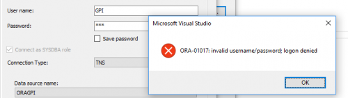 Falscher User Wizard Deploy Oracle .Net ORA-01017:invalid username/password; logon denied