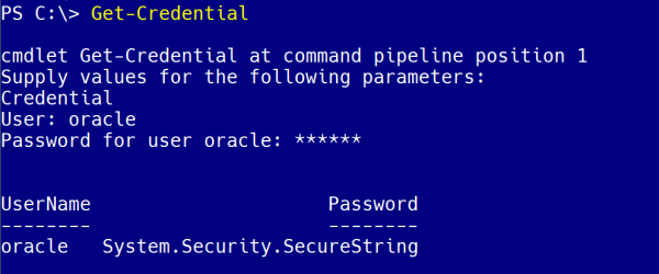 cmdlet Get-Credential at command  line to enter password
